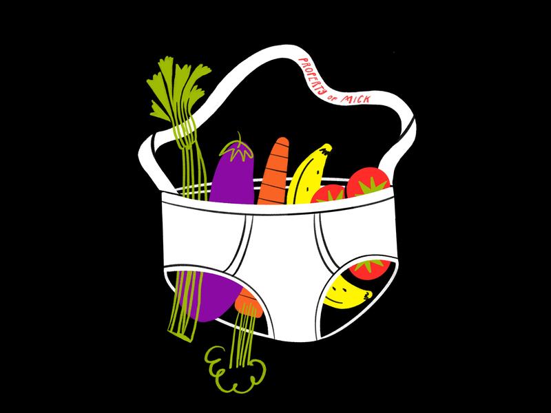 Gotta get my 5-a-day 😎🥦🥕🍌🍅🤙 purse fruit of the loom bananas carrot eggplant celery banana fruit underwear meme lol sketch doodle illo design illustration