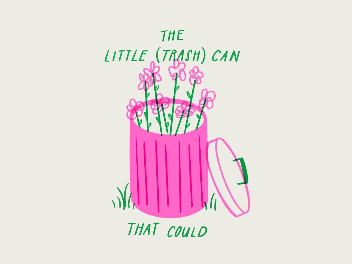 A self portrait 💕🌸🗑🌸💕 procreate ipad flowers optimism trash garbage funny sketch doodle illo design illustration lol
