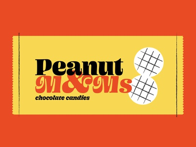 Peanut M&Ms 🥜 wrapper peanut chocolate label packaging retro branding design branding typography candy illo illustration