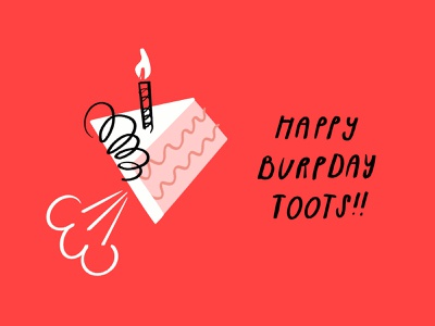 Happy Burpday, Toots 🍰💨 frosting toots sketch procreate lol illustration illo funny fart doodle design candle cake birthday cake birthday