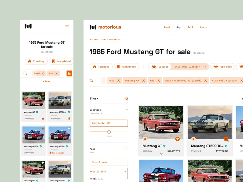 Motorious – Vehicle results interaction chips filters ecommerce marketplace mobile responsive mobile web design ux ui results list page desktop classifieds classic car product design car beta automotive auto