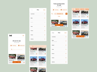 Motorious – Vehicle results microinteractions web design ux ui results product design mobile responsive mobile marketplace list page filters ecommerce desktop classifieds classic car microinteractions chips car beta automotive auto