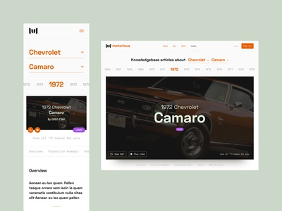 Motorious – Knowledgebase guide styleguide visual design interaction ux ui product design mobile responsive mobile detail page info knowledgebase editorial desktop classifieds classic car car beta automotive auto