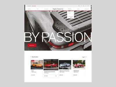 Naples Classic Car – Home web design mobile responsive exotic buy dealership grain clean typography ux ui mobile desktop modern brutalist porsche marketplace vehicle auto classic car