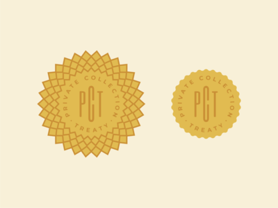 Private Collection Treaty stickies debossed shine invitation monogram repeating pattern typography badge stickers gold