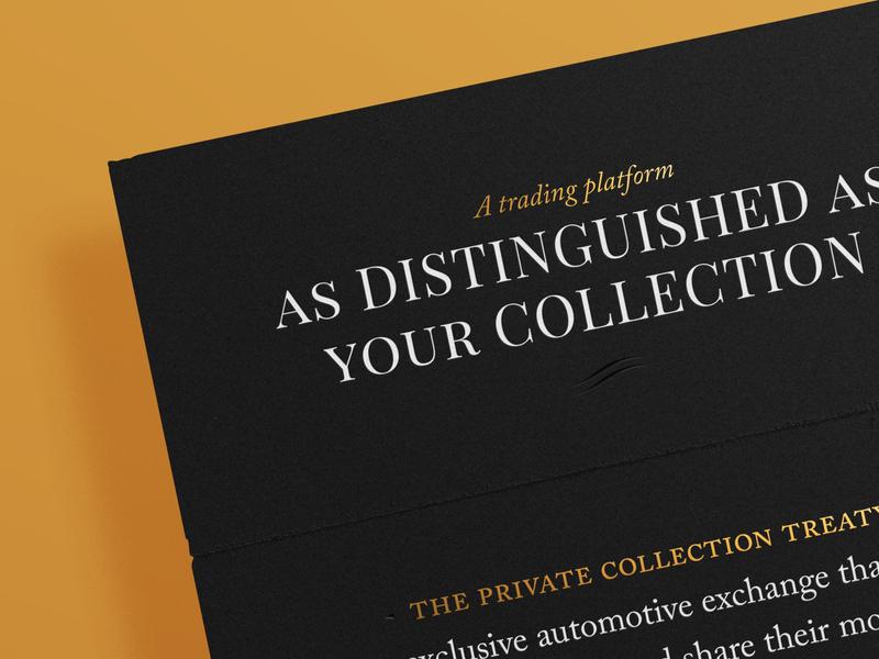Private Collection Treaty invites refined classy classic car car debossing foiling icon black typography invitation invite print gold