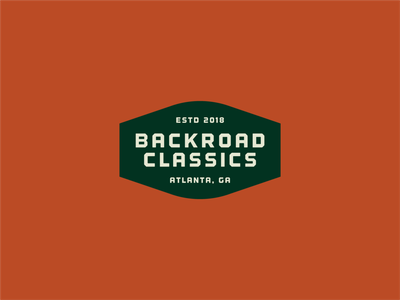 Backroad Classics exploration badge design lockup dealership identity branding auto typography vintage off road classic car exploration badge