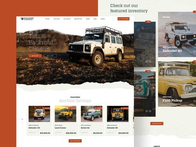 Backroad Classics – Home home page mobile responsive mobile web design vintage ux ui truck suv rugged off road desktop dealership classic car car auction 4x4