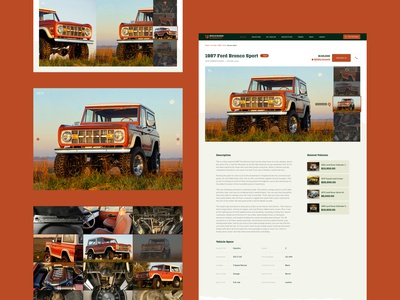 Backroad Classics – Vehicle detail page mobile responsive fullscreen interaction design specs web design vintage ux ui truck suv rugged off road mobile image gallery gallery detail page dealership classic car car 4x4