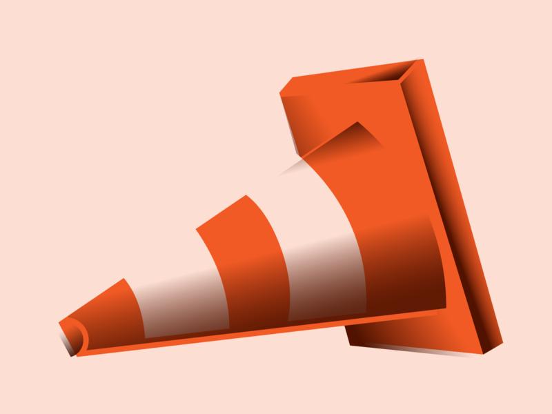 Cone traffic cone exploration offset gradient style 404 cone vector illustration