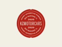 K2 Motorcars seal exploration badge design identity vintage secondary mark exploration luxury dealership auto badge logo lettering typography wax seal