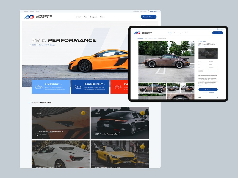 ASG site gallery card ui card filters microinteractions web design visual design ui performance light results inventory detail page homepage exotic desktop dealership clean car auto