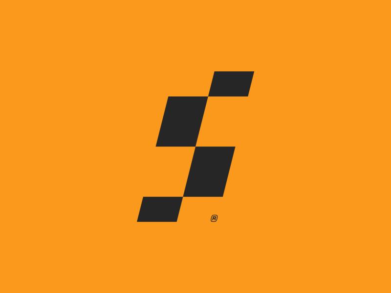S Mark pixel abstract movement flag race digital speed s identity branding brand monogram design logo