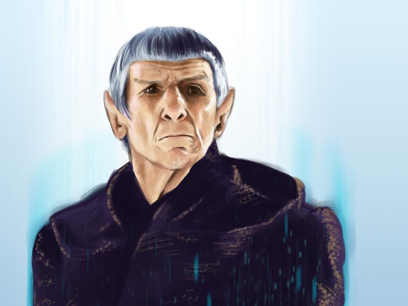 LLAP leonard nimoy spock star trek science fiction digital paint photoshop llap trek nimoy portrait