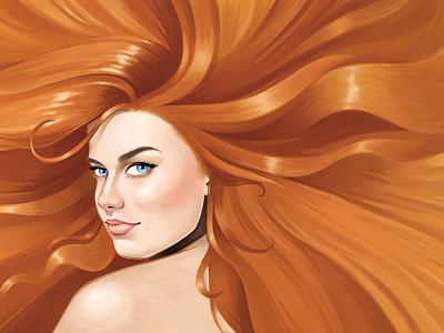 Strawberry Blonde II redhead portrait illustration painting photoshop intuos tablet wacom digital painting