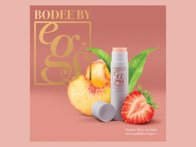 Bodee by eegee's – April Fool's Product photocomposite photoshop peach pink fruit branding product packaging chapstick
