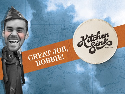 Robbie's Farewell caricature badge scout boyscout map topography photoshop collage