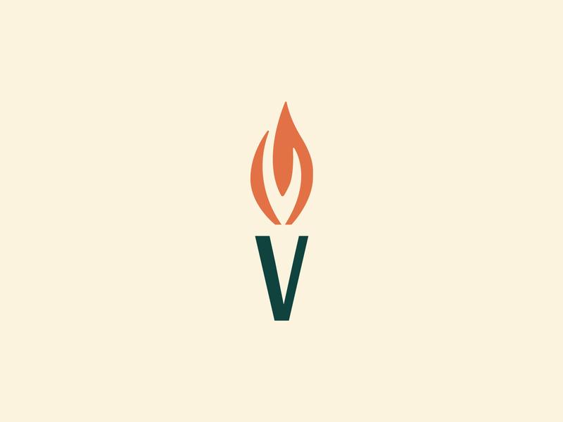 V Flame v fire flame torch brand identity identity logo focus lab branding