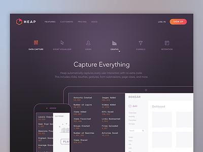 Heap Analytics Features website branding marketing ui features web design focus lab analytics