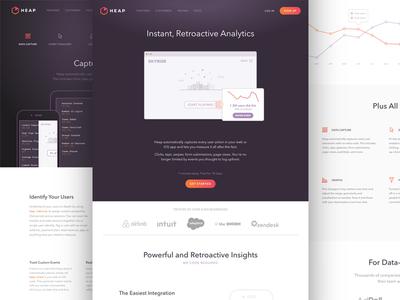 Heap Analytics website branding ui analytics marketing icons web design focus lab