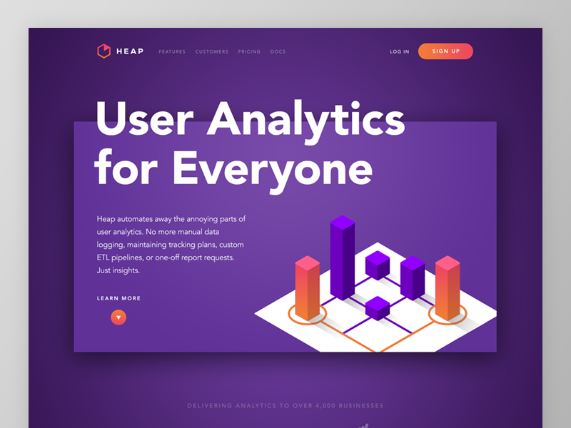 Heap Homepage Concept website web design ui marketing focus lab features branding analytics