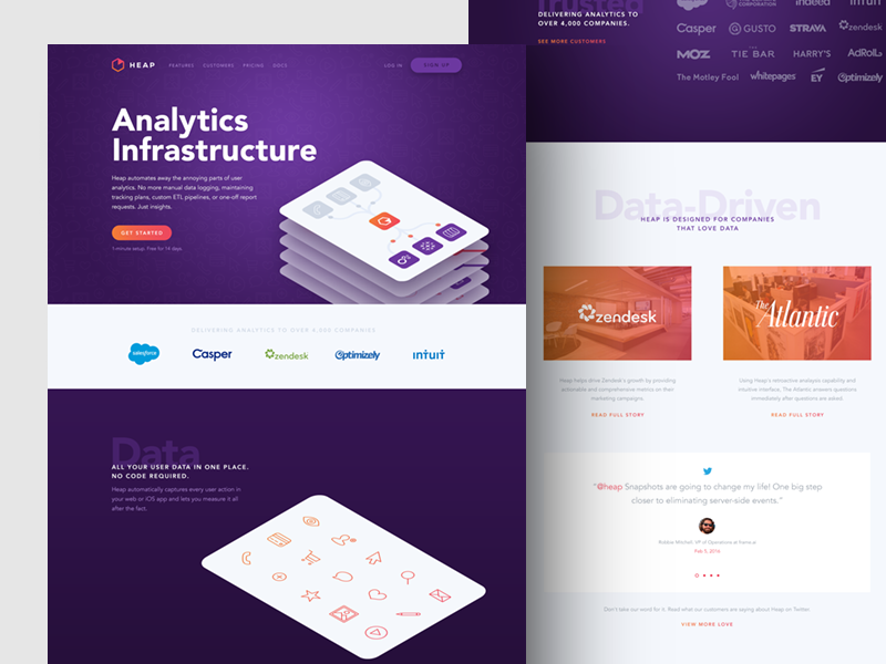 Heap is live! focus lab website web design ui stack data infrastructure card branding analytics