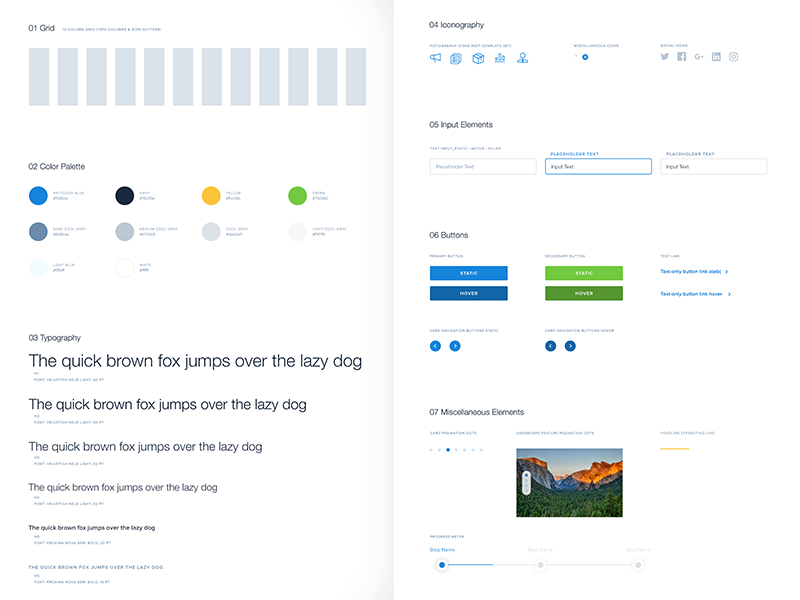 UI Kit style guide kit buttons typography colors grid branding web website ux ui focus lab