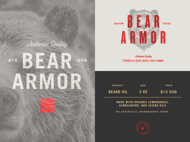 Grizzly Bear Drawing In Color Bear Armor Typography ...