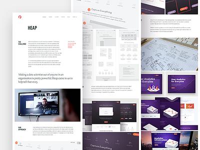 Heap Case Study graphs data portfolio website web design ui marketing focus lab analytics