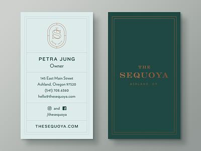 The Sequoya restaurant business card collateral identity branding logo redwood sequoia sequoya
