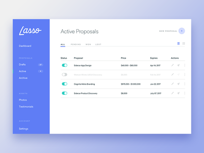 Lasso Dashboard ux proposals ui app design web design website lasso