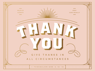 Thank You thank you print gold pink typography vintage greeting card