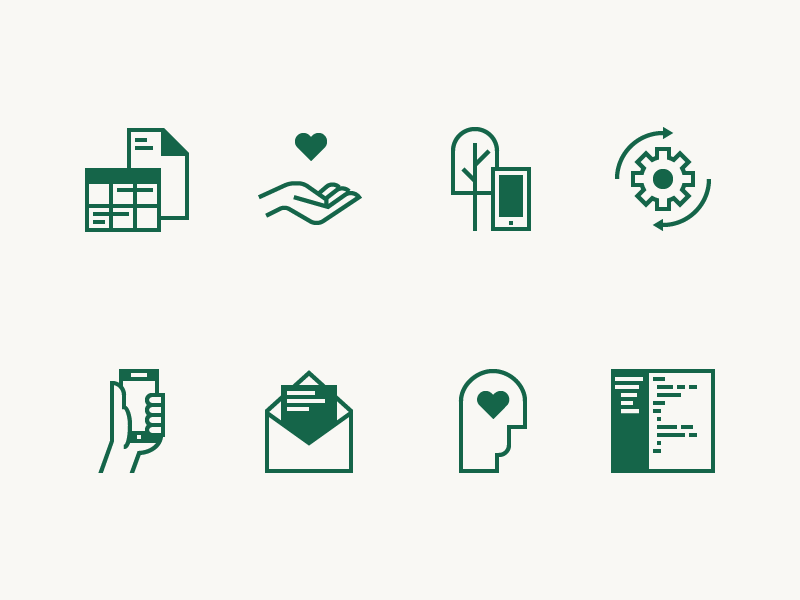 Fieldwork Icons marketing email development mobile crm invoicing scheduling iconography focus lab fieldwork