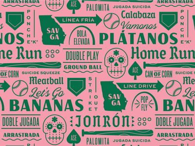Baseball Pattern bat homeplate dia de los muertos typography green pink branding baseball pattern