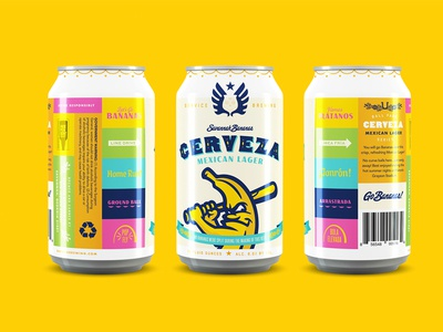 Cerveza Can typography packaging can lager cerveza baseball branding beer banana