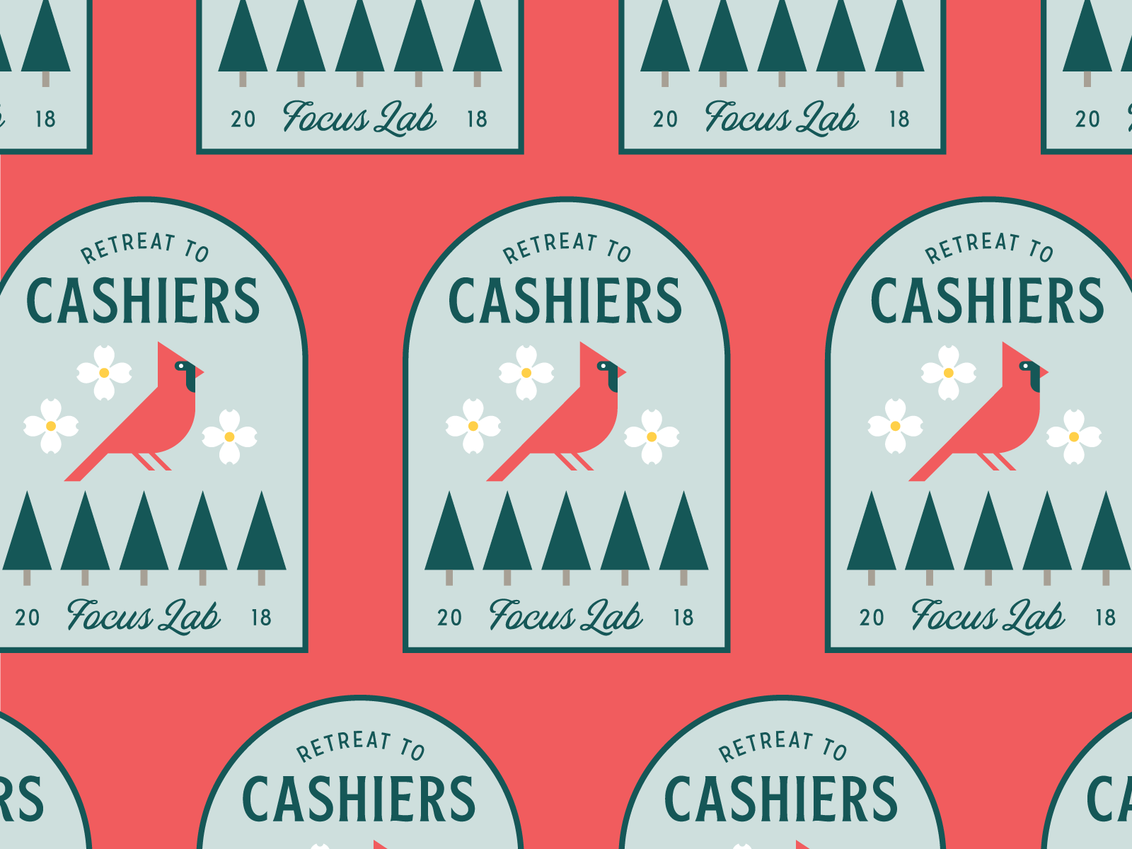 Cashiers Cardinal Patch illustration branding retreat focuslab patch dogwood pine cardinal south carolina cashiers