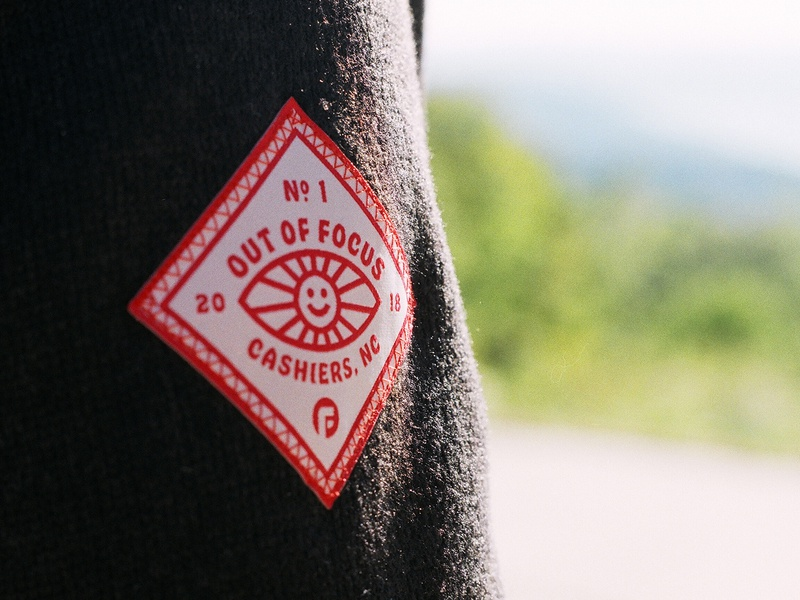 Out of Focus Fleece Patch retreat patch sun eye design hobeaux typography focus lab branding