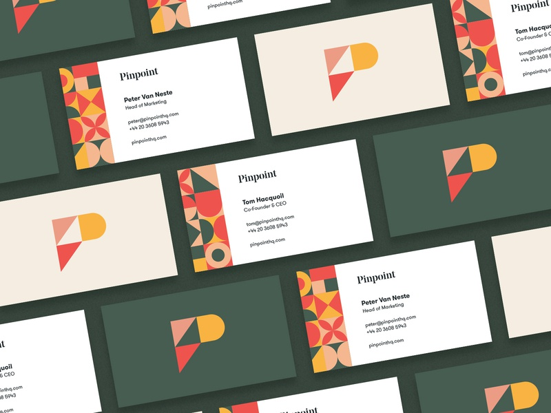 Colorful business card design focussing on patterns.