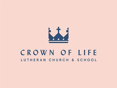 Crown of Life logo design logo school church cross crown brand design branding brand identity