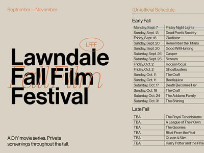 Lawndale Fall Film Festival neue haas grotesk text type swiss film grid design graphic design typography
