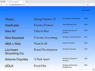 ™ Archive serif sans serif archive portfolio design portfolio gradient grid layout grid clean type web design website design typography