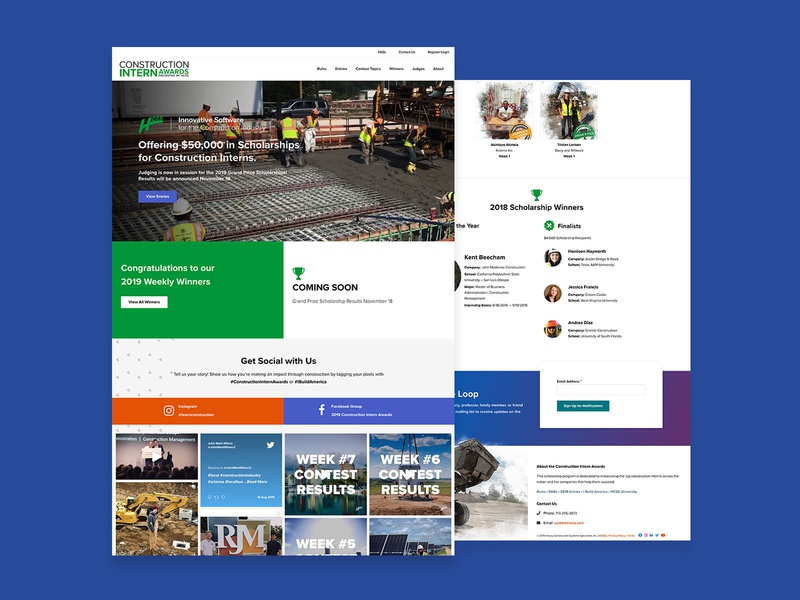 Construction Intern Awards Website Design