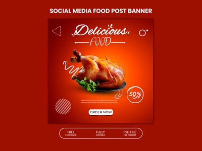 Food social media post design template food banner social media post template