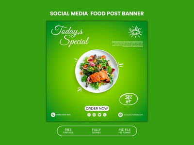 Social media post template design for food social media post template