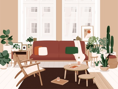 Living room interior design architecture window illustration vector plants living room house home apartment couch