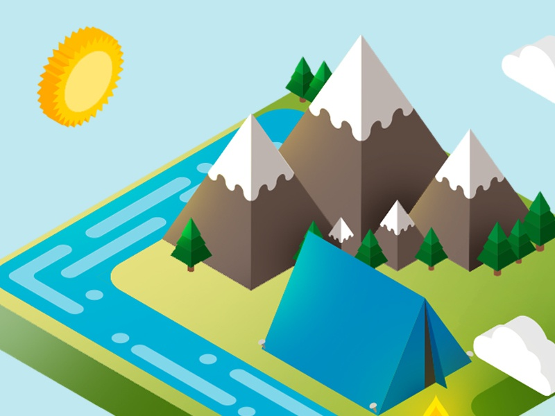 Camping All Day! isometric view travel travelling wanderlust nature camping