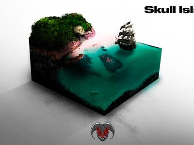 MicroWorld: 001 Skull Island realistic photoshop editing photoshop art photoshop design