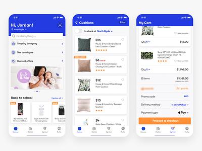 Ecom app exploration cards shopping tabs list cart ecommerce mobile ios app ios