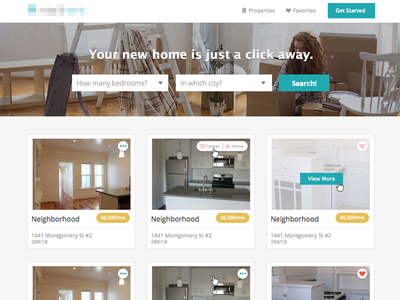 IntelliRent Property Search  header search nav hero cards grid listing hover input web design ui design ui