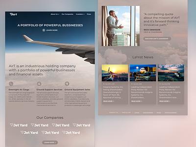 AirT WIP website landing page